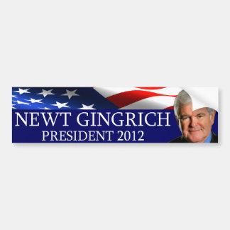 Presidente 2012 de Newt Gingrich Pegatina Para Auto