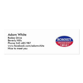 Presidente 2012 de Romney Plantilla De Tarjeta De Negocio