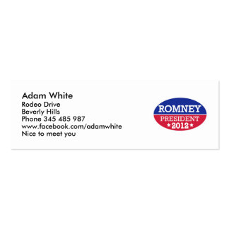 Presidente 2012 de Romney Tarjeta De Negocio