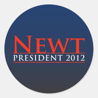Presidente 2012 del Newt Pegatina Redonda