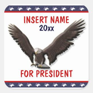Presidente 2012 PERSONALIZAR de Sarah Palin Pegatina Cuadrada