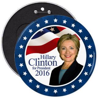 Presidente 2016 botón azul enorme de Hillary Pin Redondo De 6 Pulgadas