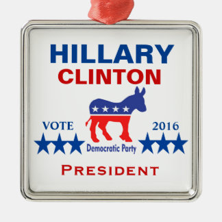 Presidente 2016 de Hillary Clinton Adorno Navideño Cuadrado De Metal