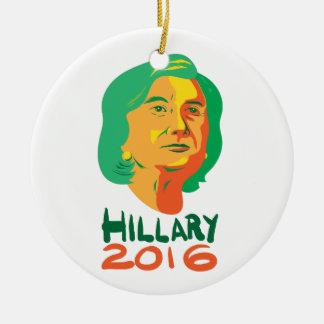 Presidente 2016 de Hillary Clinton Adorno Navideño Redondo De Cerámica