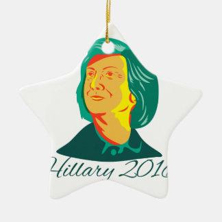 Presidente 2016 de Hillary Clinton Demócrata Retro Adorno Navideño De Cerámica En Forma De Estrella