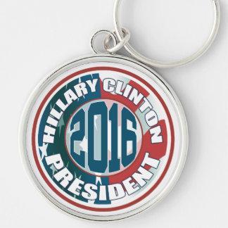 Presidente 2016 de Hillary Clinton Llavero Redondo Plateado