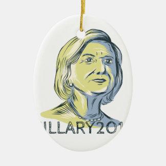 Presidente 2016 de Hillary Drawing Adorno Navideño Ovalado De Cerámica