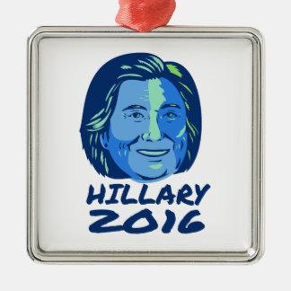 Presidente 2016 de Hillary retro Adorno Navideño Cuadrado De Metal