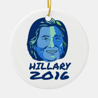 Presidente 2016 de Hillary retro Adorno Navideño Redondo De Cerámica