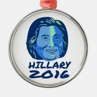Presidente 2016 de Hillary retro Adorno Navideño Redondo De Metal