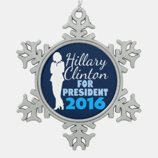 Presidente 2016 de la silueta de Hillary Clinton Adorno De Peltre En Forma De Copo De Nieve