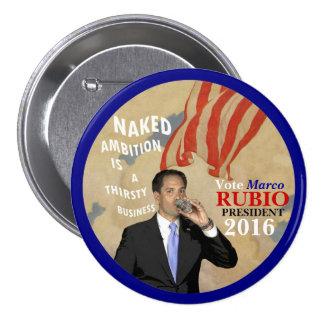 Presidente 2016 de Marco Rubio del voto Pin Redondo De 3 Pulgadas