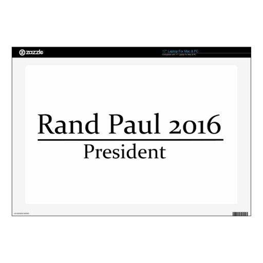 Presidente 2016 de Paul del rand diseño simple Calcomanías Para 43,2cm Portátiles