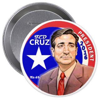 Presidente 2016 de Ted Cruz Pin Redondo De 4 Pulgadas
