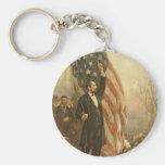 Presidente Abraham Lincoln debajo de la bandera am Llavero Personalizado
