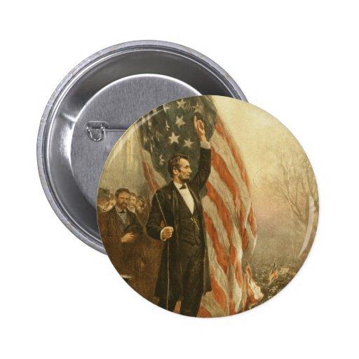 Presidente Abraham Lincoln debajo de la bandera Pin Redondo De 2 Pulgadas