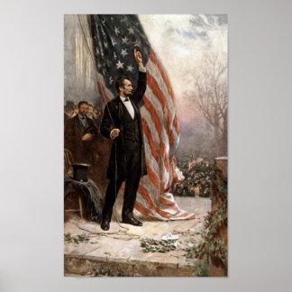 Presidente Abraham Lincoln pronunciar un discurso Póster