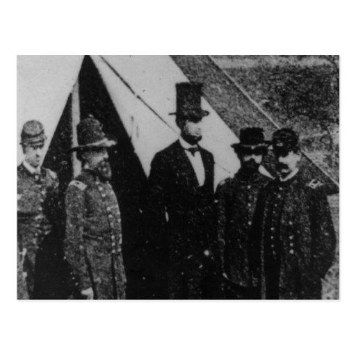 Presidente Abraham Lincoln que visita Antietam 186 Postal