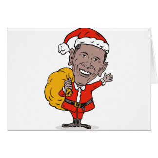 Presidente americano Barack Obama Papá Noel Tarjetón