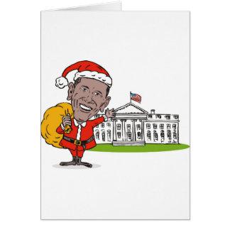 Presidente americano Barack Obama Papá Noel Tarjeton