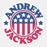 Presidente Andrew Jackson de los E.E.U.U. Pegatina Redonda
