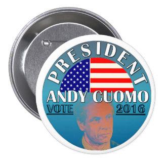 Presidente Andy Cuomo 2016 Pin Redondo De 3 Pulgadas