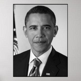 Presidente Barack Obama -- Blanco y negro Póster