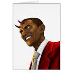 Presidente Barack Obama como el diablo Halloween Tarjetón