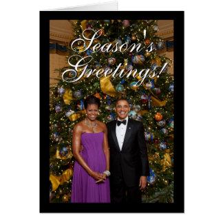 Presidente Barack Obama con las tarjetas de Navida