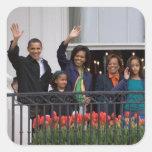 Presidente Barack Obama y familia Calcomania Cuadradas Personalizada