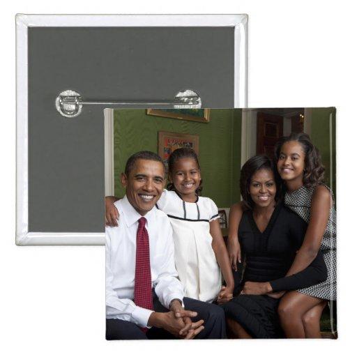 Presidente Barack Obama y familia Pin Cuadrado