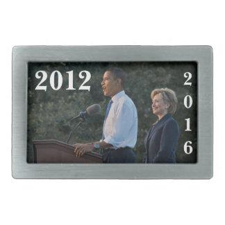 Presidente Barack Obama y Hillary Clinton Hebilla De Cinturón Rectangular