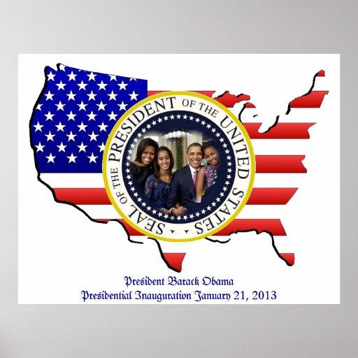 Presidente Barack Obama y la 1ra familia Póster