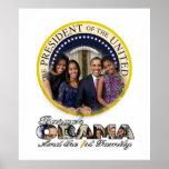 Presidente Barack Obama y la 1ra familia Poster