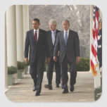 Presidente Barack Obama y presidentes anteriores Pegatina Cuadrada