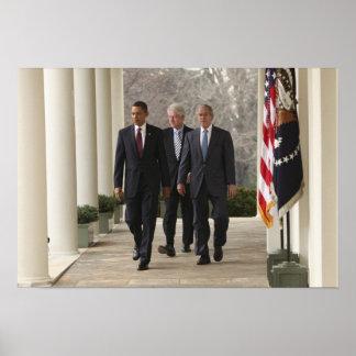Presidente Barack Obama y presidentes anteriores Póster