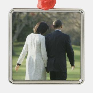 Presidente Barack Obama y primera señora Michelle Adorno Navideño Cuadrado De Metal