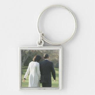 Presidente Barack Obama y primera señora Michelle Llavero Cuadrado Plateado