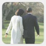 Presidente Barack Obama y primera señora Michelle Pegatina Cuadrada