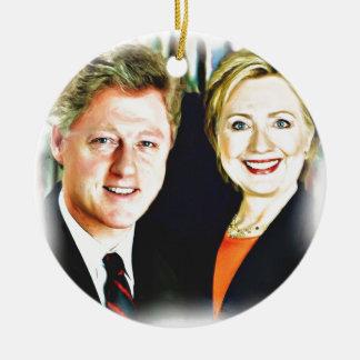 Presidente Bill Clinton y presidente Hillary Adorno Navideño Redondo De Cerámica