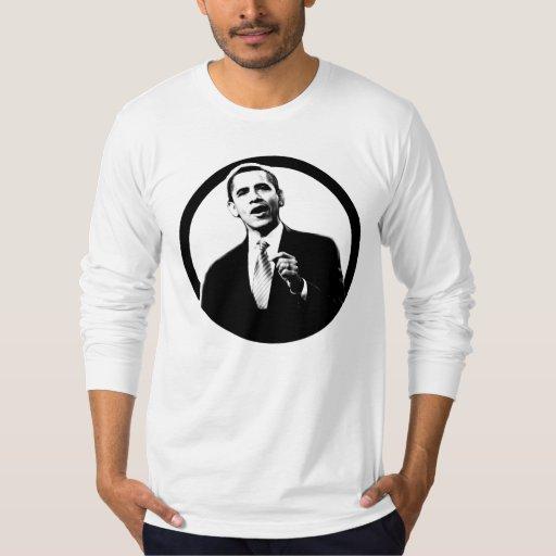 Presidente cabido Obama Longsleeve del círculo de Playera