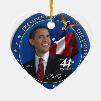 Presidente Collection de Obama 44.o Estados Unidos Adorno Navideño De Cerámica En Forma De Corazón