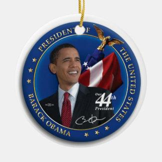 Presidente Collection de Obama 44.o Estados Unidos Adorno Navideño Redondo De Cerámica