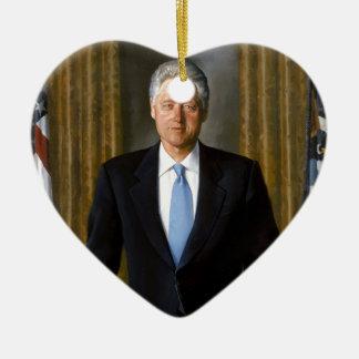 presidente de Bill Clinton los E.E.U.U. Adorno Navideño De Cerámica En Forma De Corazón