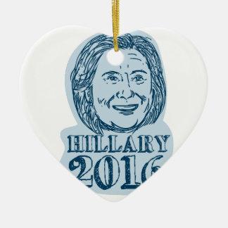 Presidente de Hillary Clinton dibujo 2016 Adorno Navideño De Cerámica En Forma De Corazón