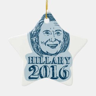 Presidente de Hillary Clinton dibujo 2016 Adorno Navideño De Cerámica En Forma De Estrella