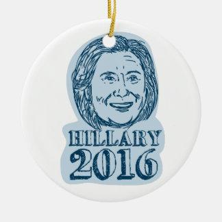 Presidente de Hillary Clinton dibujo 2016 Adorno Navideño Redondo De Cerámica