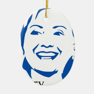 Presidente de Hillary Clinton el 2016% el pipe% Adorno Navideño Ovalado De Cerámica