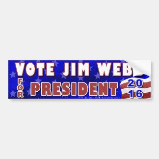Presidente de Jim Webb elección 2016 Demócrata Pegatina Para Auto