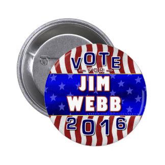 Presidente de Jim Webb elección 2016 Demócrata Pin Redondo 5 Cm